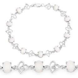 Srebrna bransoletka z naturalnymi opalami i kryształami górskimi 4,90 ct