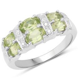 Srebrny pierścionek z 6 naturalnymi perydotami 1,98 ct