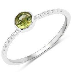Srebrny pierścionek z naturalnym perydotem 0,25 ct
