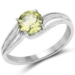 Srebrny pierścionek z naturalnym perydotem 1,10 ct