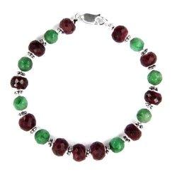 Bransoletka z naturalnych rubinów i zielonych szafirów