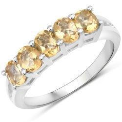 Klasyczny srebrny pierścionek z 5 naturalnymi cytrynami 1,75 ct