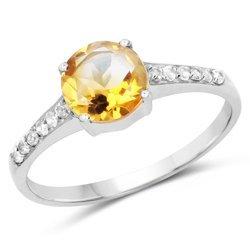 Klasyczny srebrny pierścionek z naturalnym cytrynem i 12 kryształami górskimi 1,28 ct