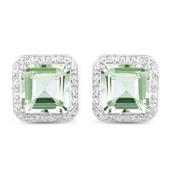 Kolczyki srebrne z naturalnymi zielonymi ametystami i diamentami 9,16 ct