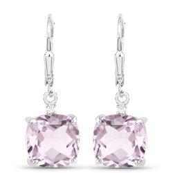 Kolczyki srebro naturalny różowy ametyst i kryształ górski 7,43 ct