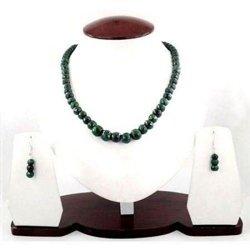Komplet naturalny zielony szafir naszyjnik kolczyki w prezencie