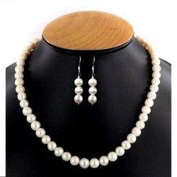 Komplet z naturalnych pereł i szafir naszyjnik + prezent kolczyki