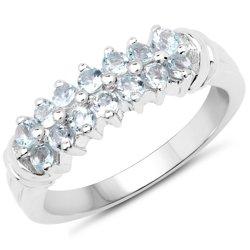 Oryginalny srebrny pierścionek z 14 naturalnymi akwamarynami 0,84 ct