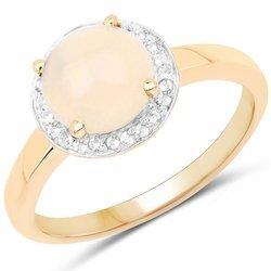 Pozłacany 14 ct żółtym złotem srebrny pierścionek z naturalnym etiopskim opalem i kryształami górskimi 0,97 ct