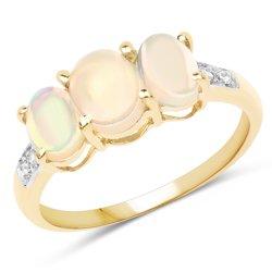 Pozłacany 14 ct żółtym złotem srebrny pierścionek z naturalnymi etiopskimi opalami i kryształami górskimi 1,85 ct