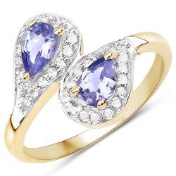Pozłacany srebrny pierścionek z 2 naturalnymi tanzanitami i aż 32 kryształami górskimi 1,06 ct