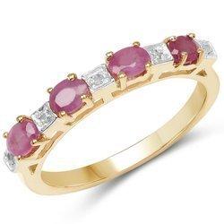 Pozłacany srebrny pierścionek z rubinami i diamentami 0,91 ct