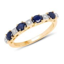 Pozłacany srebrny pierścionek z szafirami i diamentami 0,91 ct