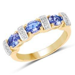 Pozłacany srebrny pierścionek z tanzanitami, kryształami górskimi 1,05 ct