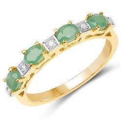 Pozłacany srebrny pierścionek ze szmaragdami i diamentami 0,59 ct