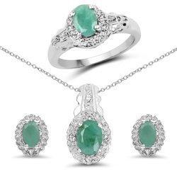 Srebny komplet wisiorek pierścionek kolczyki z naturalnymi szmaragdami i kryształami górskimi 2,48 ct