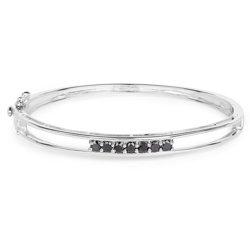 Srebrna bransoletka bangle z naturalnymi czarnymi diamentami 1,03 ct