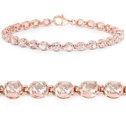Srebrna bransoletka pozłacana 18 ct różowym złotem z 26 naturalnymi morganitami 3.90 ct