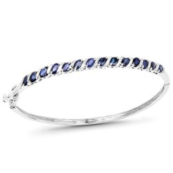 Srebrna bransoletka typu bangle z 14 naturalnymi niebieskimi szafirami 3.50 ct