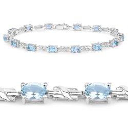 Srebrna bransoletka z 14 naturalnymi topazami niebieskimi 9,10 ct