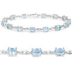 Srebrna bransoletka z 15 naturalnymi topazami niebieskimi 9,75 ct