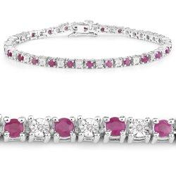 Srebrna bransoletka z 26 rubinami i 26 kryształami górskimi 3,77 ct