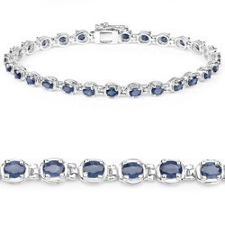 Srebrna bransoletka z 27 naturalnymi szafirami niebieskimi 6,75 ct