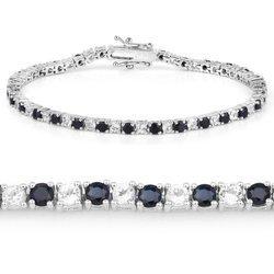 Srebrna bransoletka z 29 naturalnymi szafirami i 29 kryształami górskimi 6,38 ct
