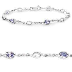 Srebrna bransoletka z 5 naturalnymi tanzanitami i 10 kryształami górskimi 1,30 ct