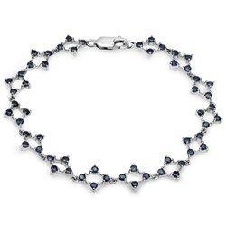 Srebrna bransoletka z 56 naturalnymi szafirami niebieskimi 3,36 ct