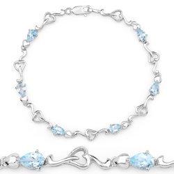 Srebrna bransoletka z 6 naturalnymi topazami niebieskimi 2,70 ct