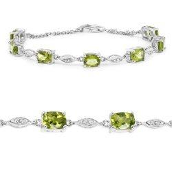 Srebrna bransoletka z 7 naturalnymi perydotami i 12 kryształami górskimi 6,21ct