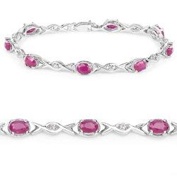 Srebrna bransoletka z 8 rubinami i 8 kryształami górskimi 5,36 ct