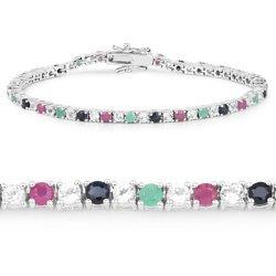 Srebrna bransoletka z naturalnymi rubinami, szmaragdami, szafirami i kryształami górskimi 4,64 ct