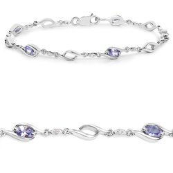 Srebrna bransoletka z naturalnymi tanzanitami i kryształami górskimi 1,30 ct