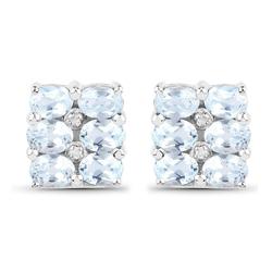 Srebrne kolczyki 12 naturalnymi topazami niebieskimi i 4 diamentami 3,02 ct
