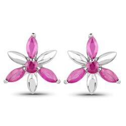 Srebrne kolczyki kwiatki z 8 naturalnymi rubinami 1,36 ct