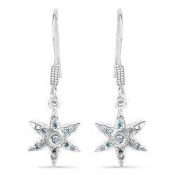 Srebrne kolczyki naturalne niebieskie diamenty brylanty 0,18 ct