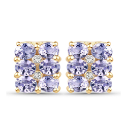 Srebrne kolczyki pozłacane 14 ct żółtym złotem z 12 naturalnymi tanzanitami i 4 diamentami 2,06 ct