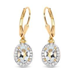 Srebrne kolczyki pozłacane 14 ct żółtym złotem z 2 naturalnymi akwamarynami i 40 kryształami górskimi 1,70 ct