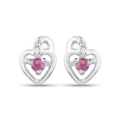 Srebrne kolczyki serca z naturalnymi rubinami oraz diamentami 0,31 ct