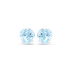 Srebrne kolczyki serca z naturalnymi topazami niebieskimi 1,00 ct