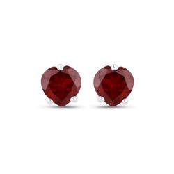 Srebrne kolczyki w kształcie serca z naturalnymi granatami 1.00 ct