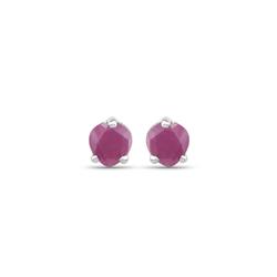 Srebrne kolczyki w kształcie serca z naturalnymi rubinami 0,70 ct