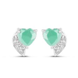 Srebrne kolczyki w kształcie serca z naturalnymi szmaragdami i kryształami górskimi 1,55 ct
