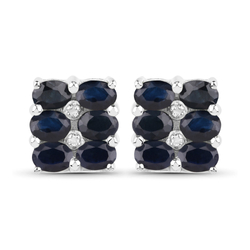 Srebrne kolczyki z 12 naturalnymi szafirami niebieskimi i diamentami 3,02 ct