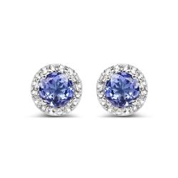 Srebrne kolczyki z 2 naturalnymi tanzanitami i 32 kryształami górskimi 1,10 ct