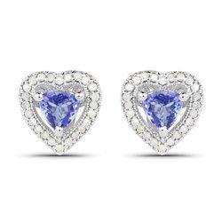 Srebrne kolczyki z 2 naturalnymi tanzanitami i 48 kryształami górskimi 1,10 ct