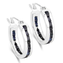 Srebrne kolczyki z 36 naturalnymi szafirami niebieskimi 1,80 ct