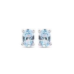 Srebrne kolczyki z naturalnym topaz niebieskim owalne 6x4 mm 1,17 ct